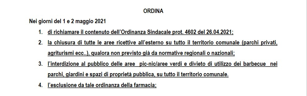SERINO, IL SINDACO CHIUDE LE AREE PIC NIC NEL WEEK END